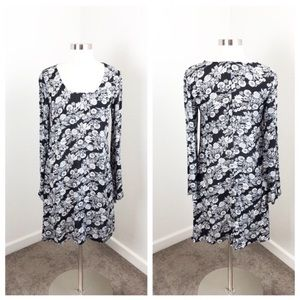 Mossimo Supply Co black floral long sleeve dress